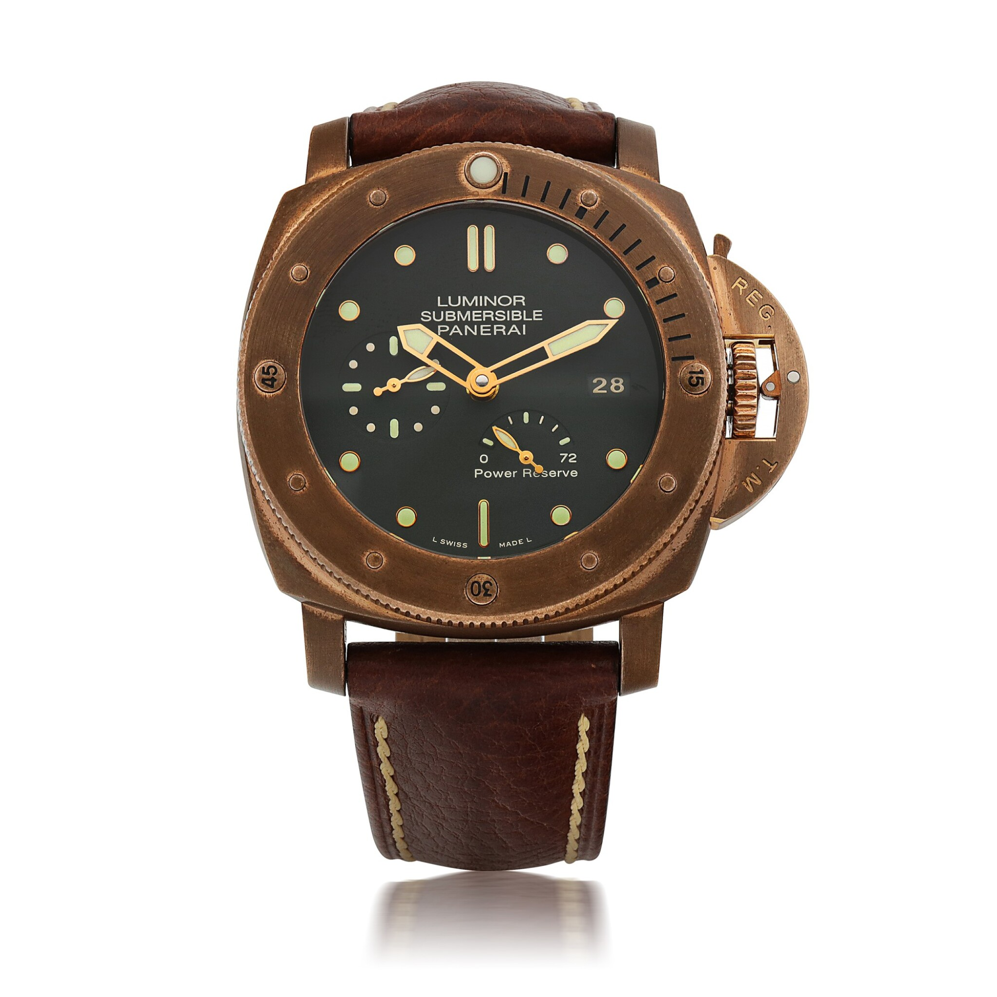 View full screen - View 1 of Lot 904. LUMINOR SUBMERSIBLE 1950 3-DAYS AUTOMATIC BRONZO, REF PAM00507 LIMITED EDITION BRONZE WRISTWATCH WITH DATE AND POWER-RESERVE INDICATION CIRCA 2011.