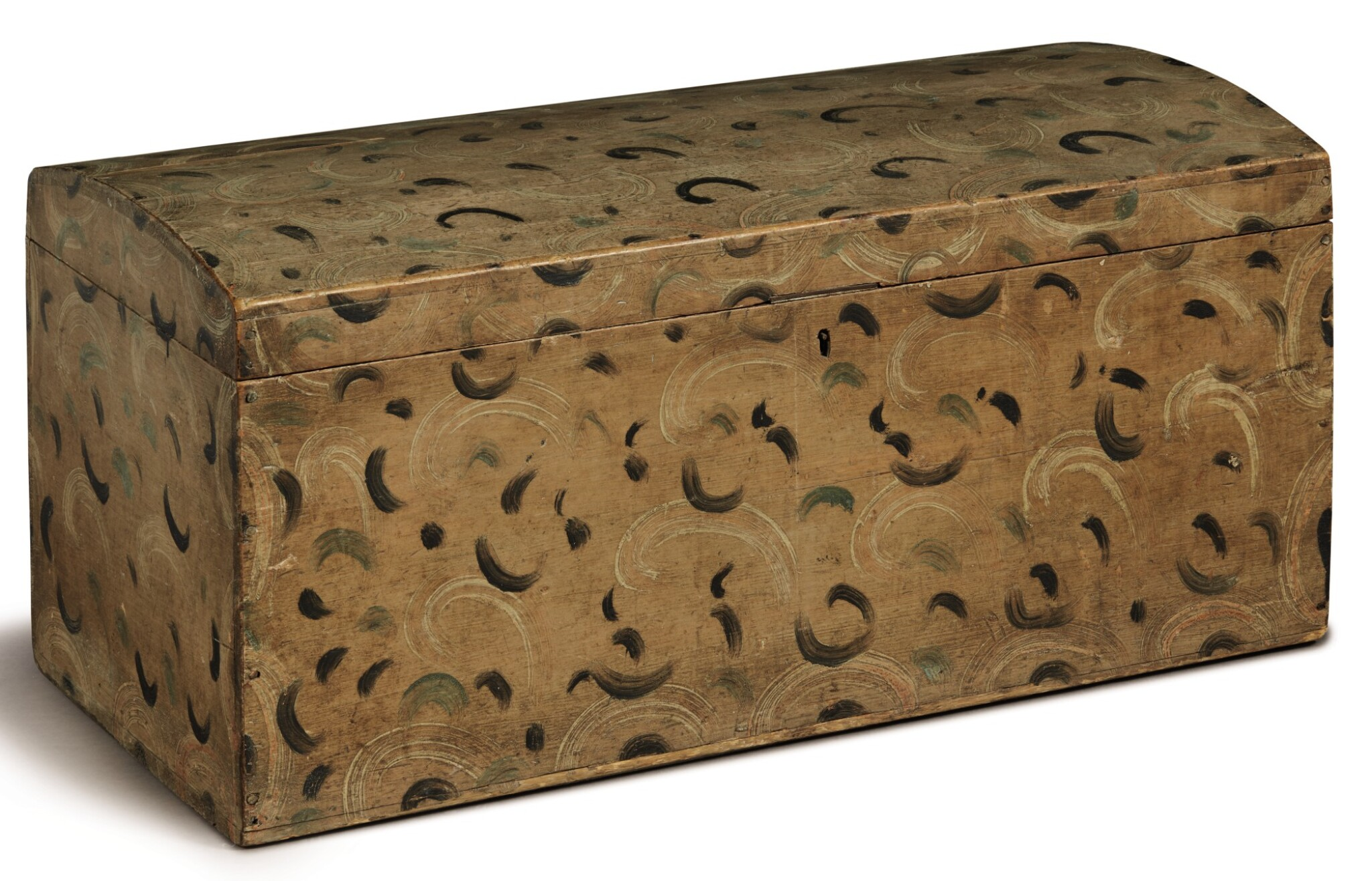 View full screen - View 1 of Lot 1445. DOME-TOP POLYCHROME PAINT-DECORATED PINE BLANKET CHEST, NEW ENGLAND, CIRCA 1825  .