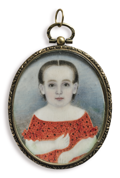 ATTRIBUTED TO MRS. MOSES B. RUSSELL (CLARISSA PETERS) | MINIATURE PORTRAIT OF A GIRL IN A RED DRESS