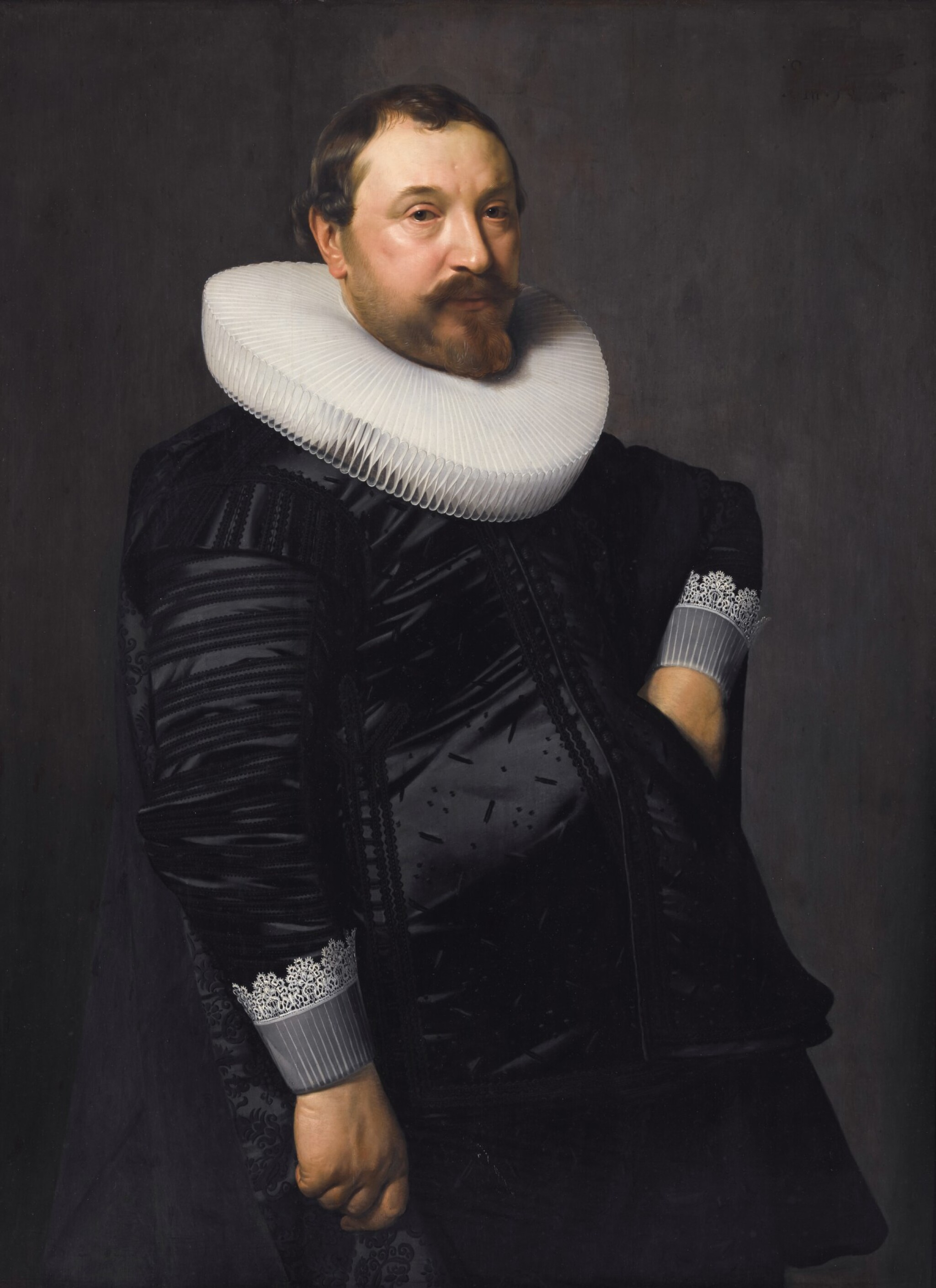 View 1 of Lot 215. NICOLAES ELIASZ. PICKENOY | PORTRAIT OF A GENTLEMAN, THREE-QUARTER-LENGTH, IN BLACK SILK WITH A WHITE RUFF.
