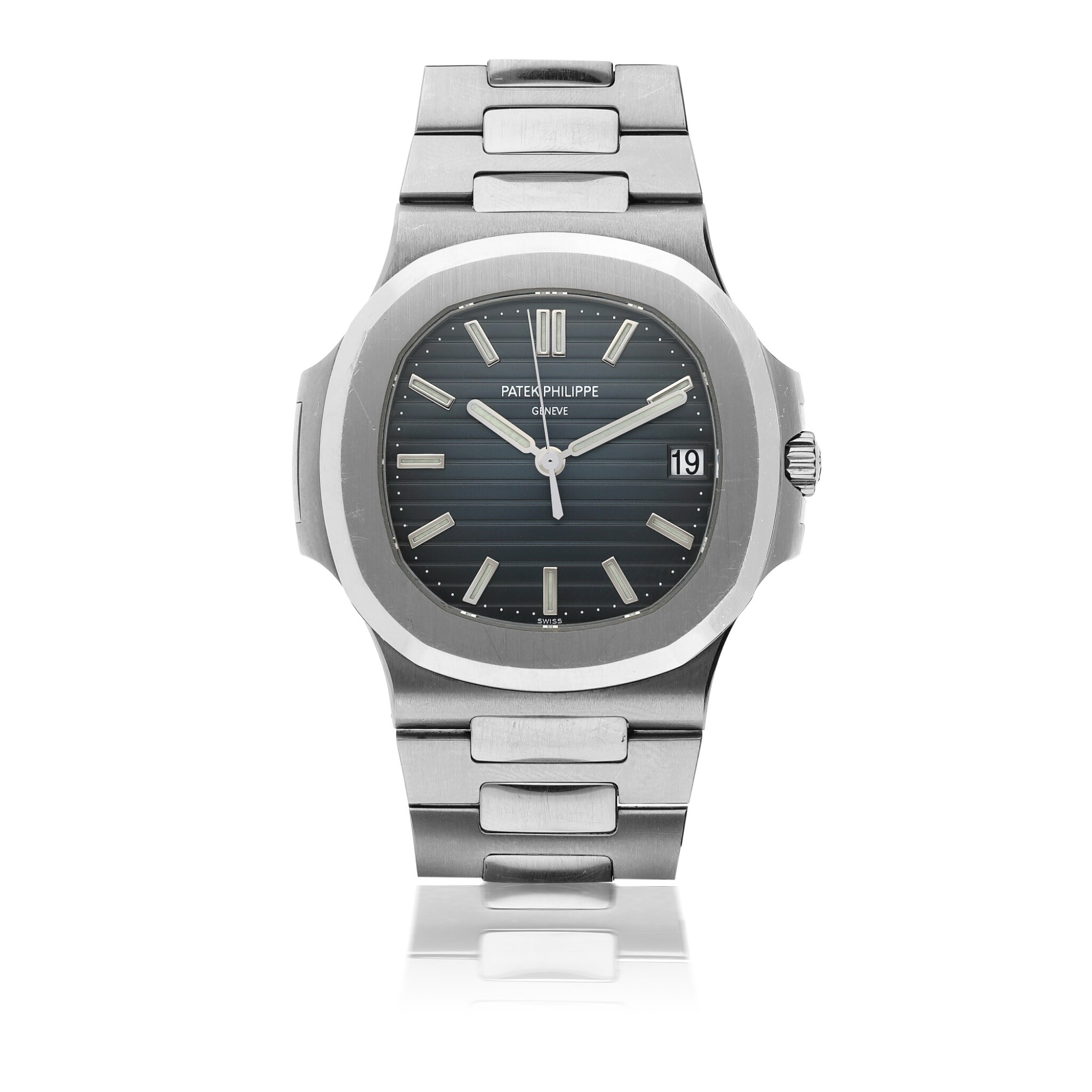 View full screen - View 1 of Lot 5.  PATEK PHILIPPE   NAUTILUS REF 5711, A STAINLESS STEEL AUTOMATIC WRISTWATCH WITH DATE AND BRACELET CIRCA 2015.