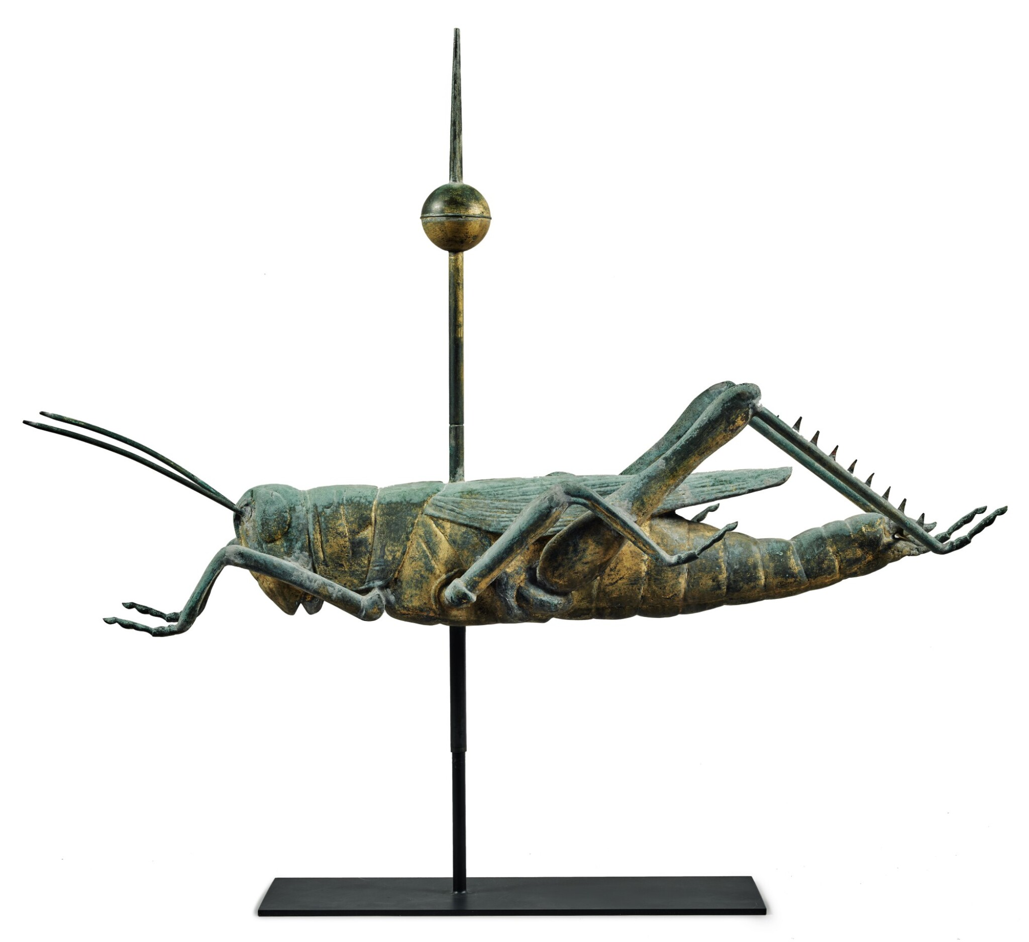 EXCEPTIONAL HOLLOW MOLDED AND GILT COPPER GRASSHOPPER WEATHERVANE, ATTRIBUTED TO L.W. CUSHING & SONS WALTHAM, MASSACHUSETTS, CIRCA 1883
