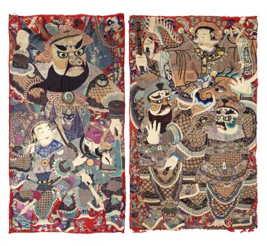 View 1. Thumbnail of Lot 74. Deux grandes tentures d'opéra brodées circa 1900 | 約1900年 刺繡戲曲人物圖掛幅兩件 | Two large Chinese Opera embroideries, ca. 1900..