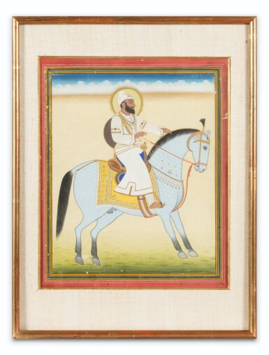 View 8. Thumbnail of Lot 34. INDIA, 19TH CENTURY | FOUR EQUESTRIAN PORTRAITS OF DIGNITARIES .