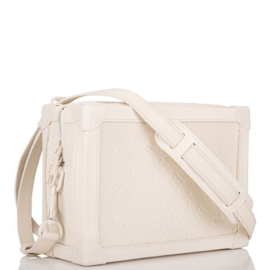View 2. Thumbnail of Lot 85. Louis Vuitton x Virgil Abloh White Soft Trunk Bag of Taurillion Monogram Leather with White Hardware.
