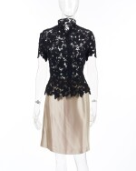 Midnight blue lace top and silk skirt