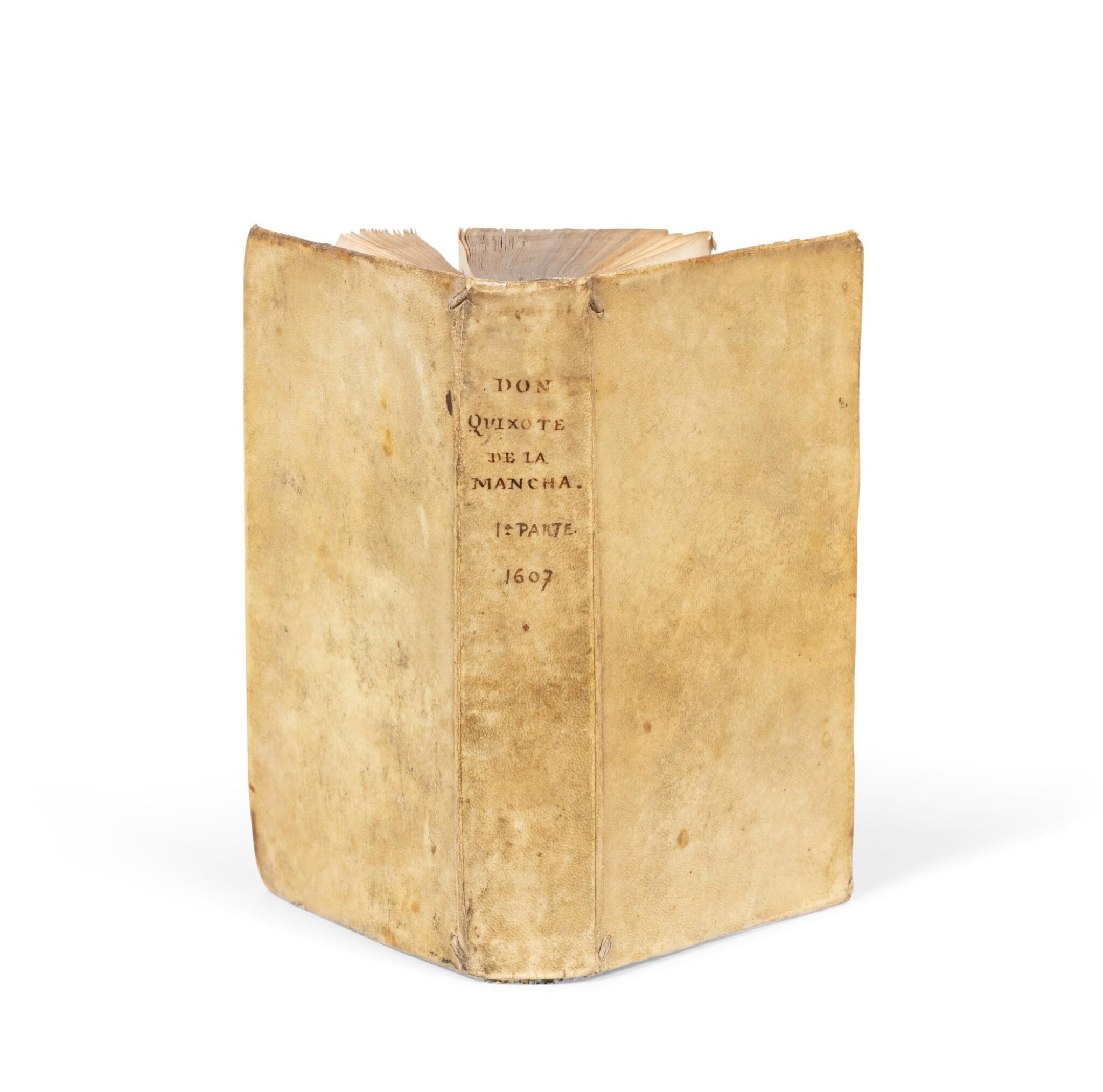 View full screen - View 1 of Lot 15. El ingenioso hidalgo Don Quixote de la Mancha. Bruxelles, 1607. 1re éd. bruxelloise. Vélin époque.
