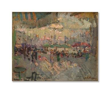 View 1. Thumbnail of Lot 3034. ADRIEN JEAN LE MAYEUR DE MERPRÈS  |  CAFE AT THE PORT OF MARSEILLE .