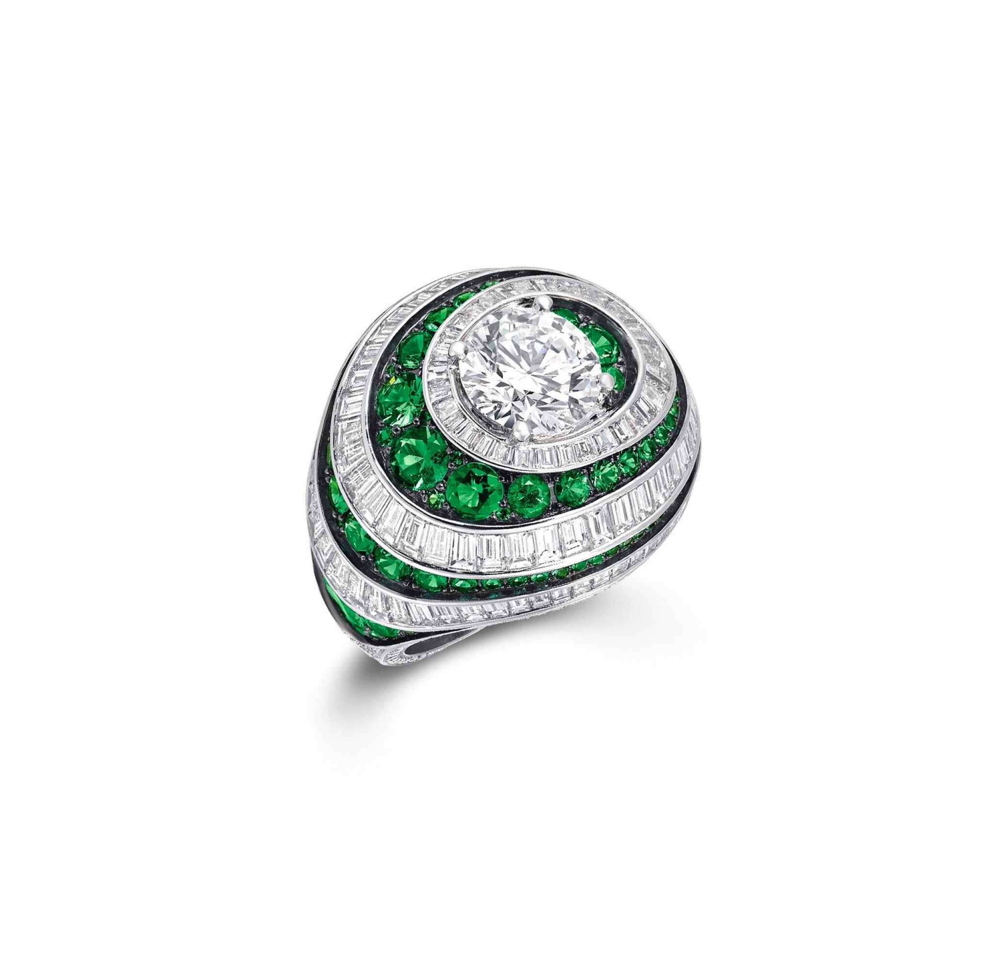View full screen - View 1 of Lot 156. GRAFF   EMERALD AND DIAMOND RING.
