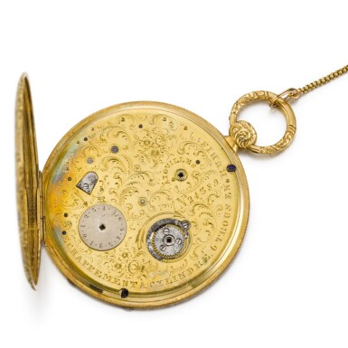 View 2. Thumbnail of Lot 289. SWISS | A GOLD AND ENAMEL ULTRA SLIM BAGNOLET WATCH, CIRCA 1850 NO. 24389.
