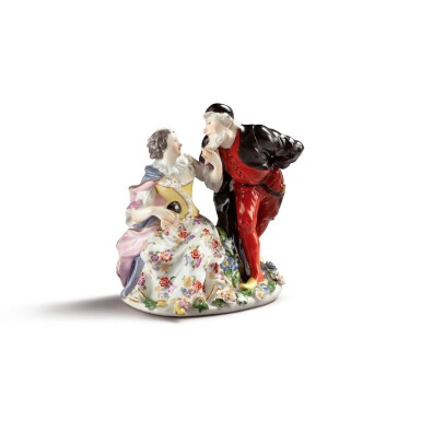 A MEISSEN GROUP OF PANTALONE AND COLUMBINE CIRCA 1741-45