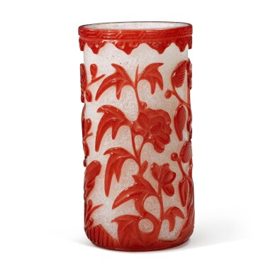 View 4. Thumbnail of Lot 61. A red overlay snowflake glass 'flower' brushpot, Qing dynasty, 19th century.