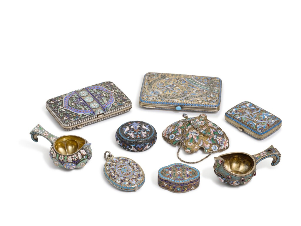 A GROUP OF NINE RUSSIAN ENAMELS, VARIOUS MAKERS, LATE 19TH/EARLY 20TH CENT