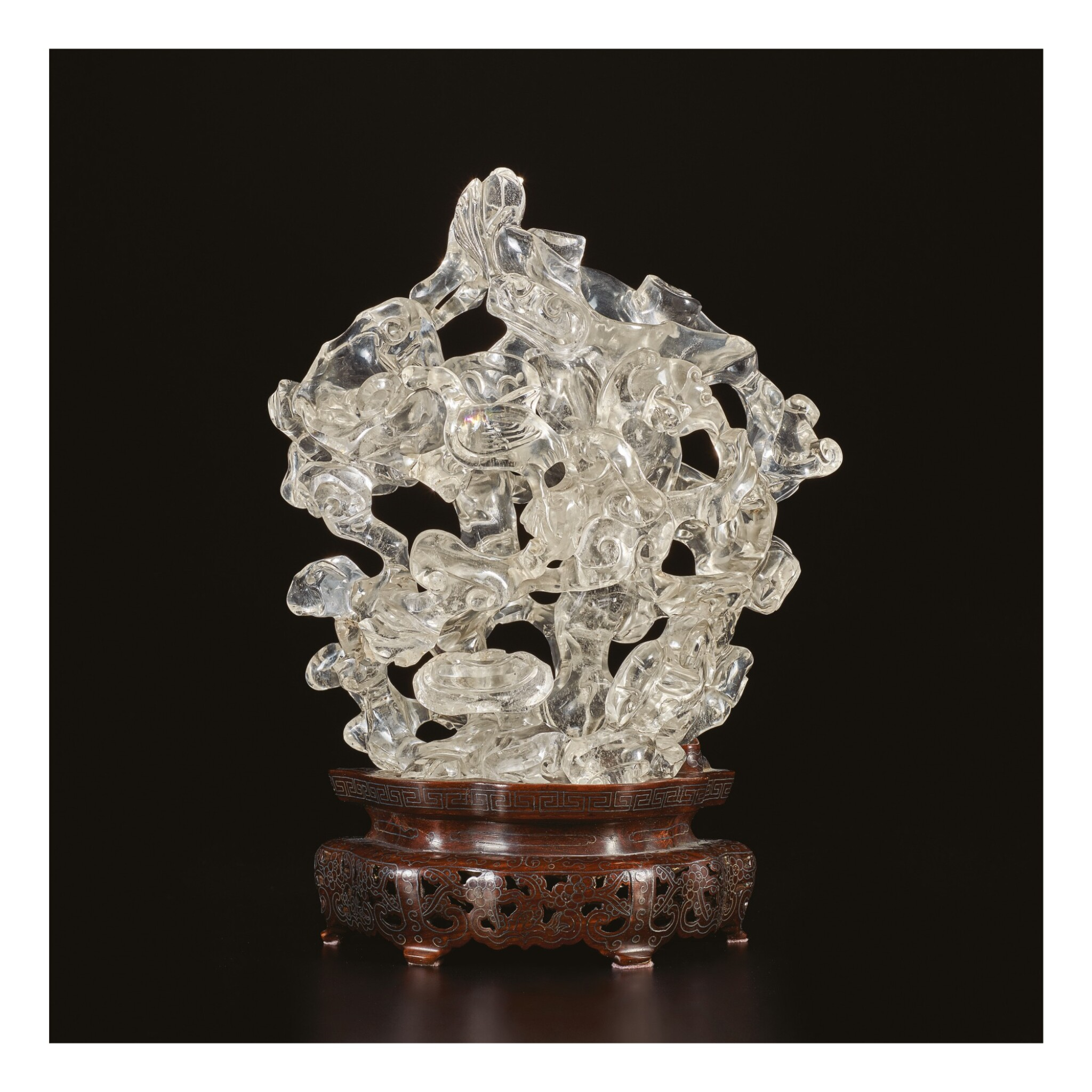 View full screen - View 1 of Lot 670. A ROCK CRYSTAL 'LONGEVITY' DOUBLE-VASE GROUP, QING DYNASTY, 19TH CENTURY.