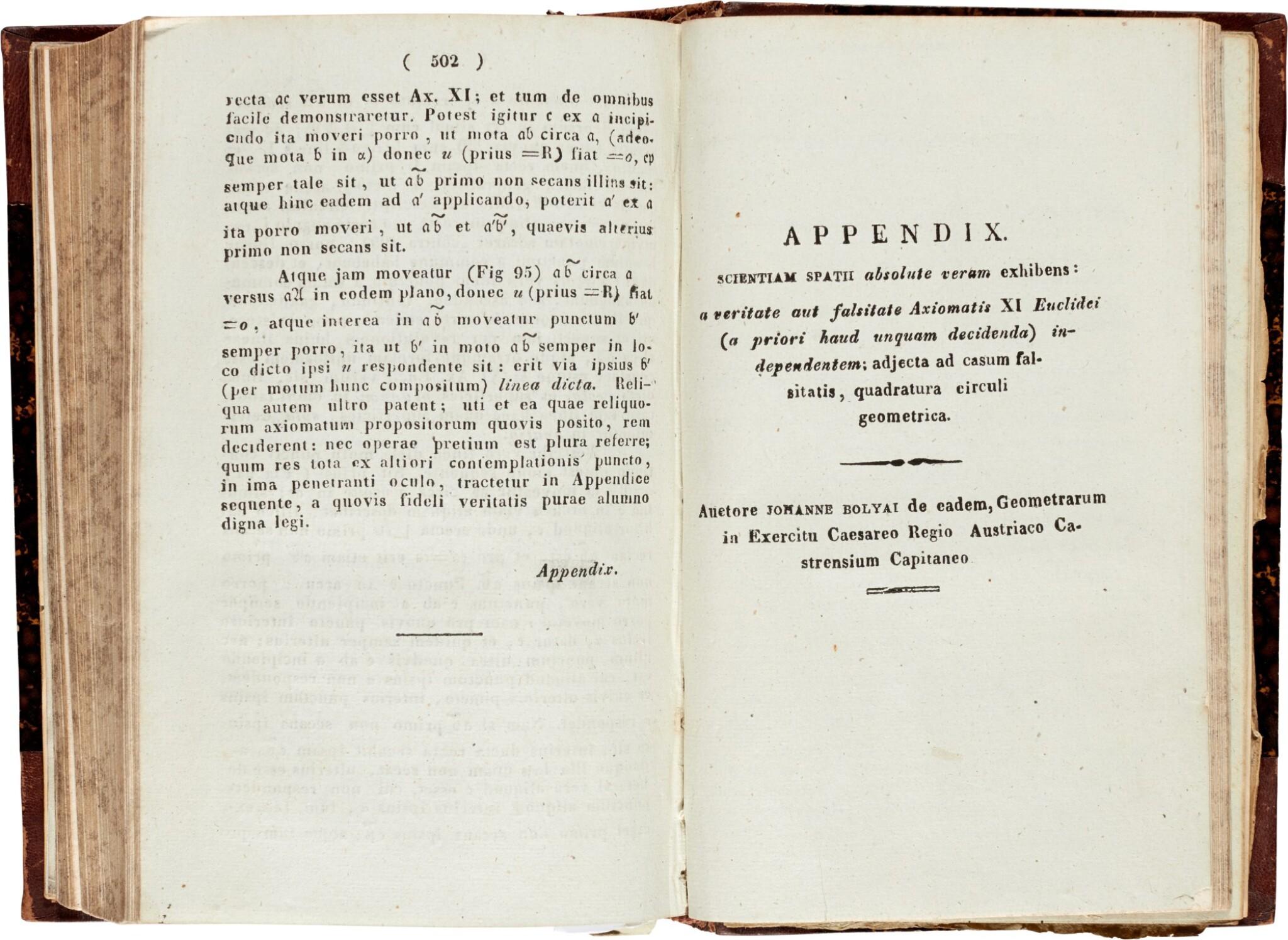 View full screen - View 1 of Lot 3. Bolyai   Scientiam spatii absolute veram exhibens, Maros Vásárhelyi, 1832-1833, 2 volumes, half calf.