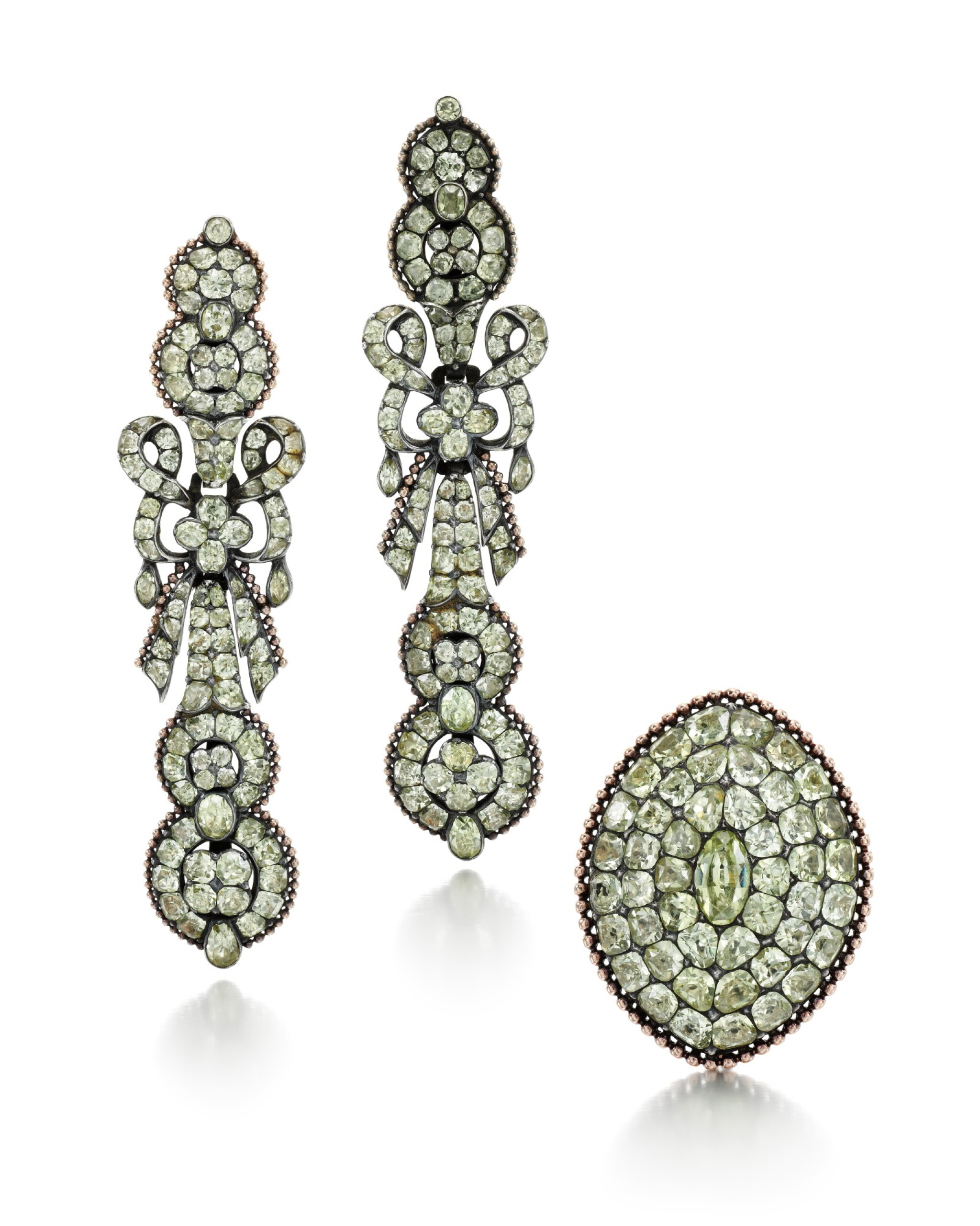 View full screen - View 1 of Lot 214. PAIR OF CHRYSOBERYL EARRINGS AND A RING.