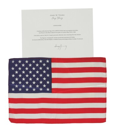 View 2. Thumbnail of Lot 94. [APOLLO 10]. FLOWN ON APOLLO 10. LARGE UNITED STATES OF AMERICA FLAG FROM THE COLLECTION OF JOHN YOUNG.