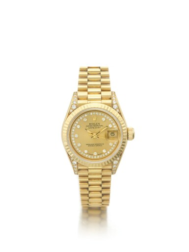 ROLEX   REF 69158 DATEJUST, A YELLOW GOLD AND DIAMOND SET AUTOMATIC CENTER SECONDS WRISTWATCH WITH DATE AND BRACELET CIRCA 1990