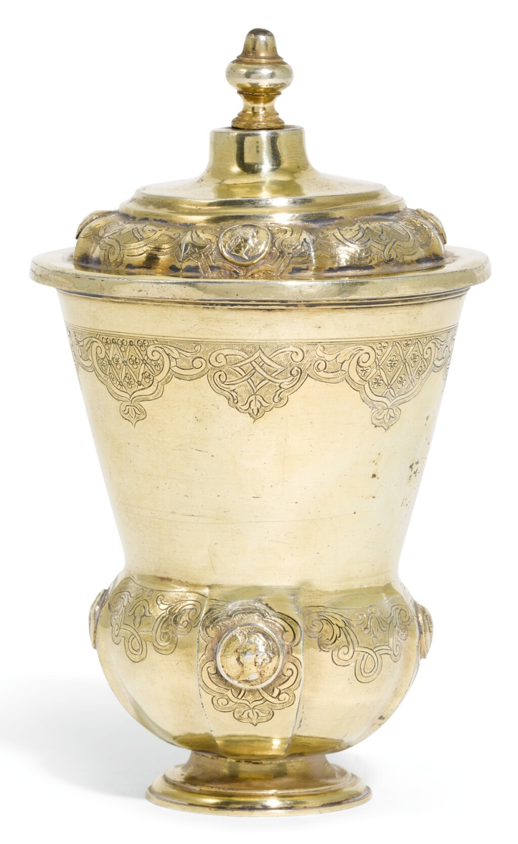A GERMAN SILVER-GILT BEAKER AND COVER, JOHANN ERHARD HEUGLIN II, CIRCA 1721-25