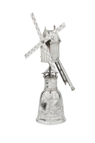 View 3. Thumbnail of Lot 1. A Dutch silver windmill cup, unknown maker's mark, Zierikzee, 1724-1732 | Coupe en forme de moulin à vent en argent, Zierikzee, 1724-1732.