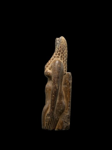View 3. Thumbnail of Lot 50. An Egyptian Fragmentary Brown Steatite Figure of Hathor, Ptolemaic Period, 305-30 B.C..