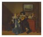 CIRCLE OF ANTHONIE PALAMEDESZ.   AN ELEGANT COMPANY MAKING MUSIC IN AN INTERIOR