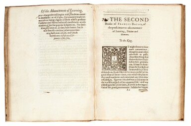 View 3. Thumbnail of Lot 3. BACON   The twoo bookes of the proficience and advancement of learning, London, 1605, vellum.
