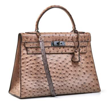 View 2. Thumbnail of Lot 356. Mousse Kelly 35cm in Ostrich Leather with Gold Hardware, 1978.