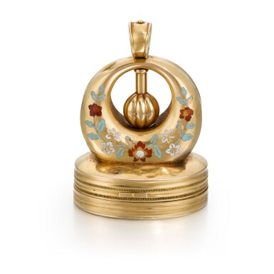 View 1. Thumbnail of Lot 302. SWISS | A GOLD AND ENAMEL MUSICAL SEAL WITH EROTIC AUTOMATON, CIRCA 1820.