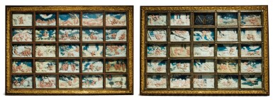 View 1. Thumbnail of Lot 802. pair of framed sets of reliefs with Ovid's Metamorphoses.