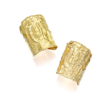 View 1. Thumbnail of Lot 238. Pair of Gold 'Manchette' Cuff-Bracelets.