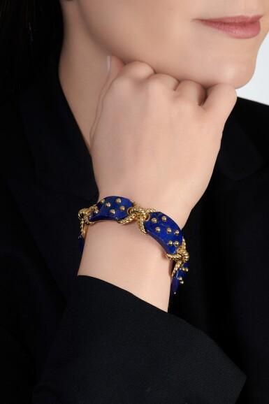 View 5. Thumbnail of Lot 623. Cartier | Gold and lapis lazuli bracelet, 1970s | 卡地亞 | 黃金鑲青金石手鏈,1970年代.