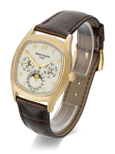 View 2. Thumbnail of Lot 18.  PATEK PHILIPPE   REFERENCE 5940J-001  YELLOW GOLD CUSHION-SHAPED PERPETUAL CALENDAR WRISTWATCH WITH MOON-PHASES, 24 HOUR AND LEAP-YEAR INDICATION  MADE IN 2013.