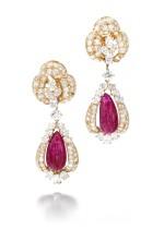 Alexandre Reza | Pair of ruby and diamond pendent ear clips | Alexandre Reza | 紅寶石配鑽石耳墜一對