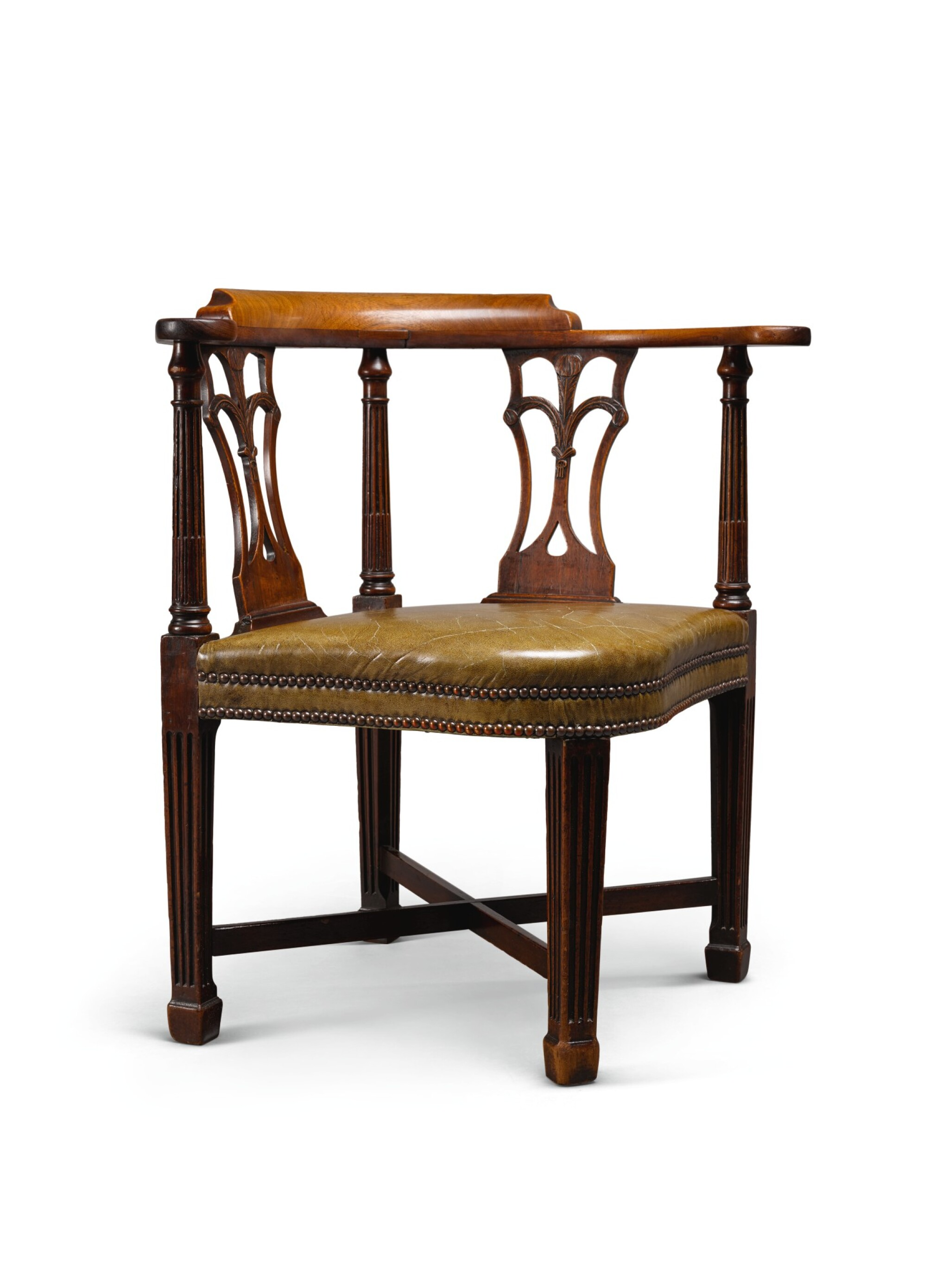 View full screen - View 1 of Lot 49. A GEORGE III MAHOGANY CORNER ARMCHAIR, LATE 18TH CENTURY.