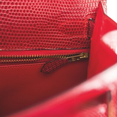 Hermès Rouge Vif Sellier Kelly 28cm of Niloticus Lizard with Gold Hardware