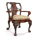 A GEORGE II STYLE MAHOGANY CANED ARMCHAIR, LATE 19TH/EARLY 20TH CENTURY