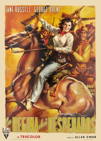 MONTANA BELLE/LA REGINA DEI DESPERADOS (1952) POSTER, ITALIAN