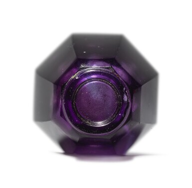 View 5. Thumbnail of Lot 1013. A SMALL AMETHYST-PURPLE GLASS FACETED VASE, QING DYNASTY, 18TH CENTURY.