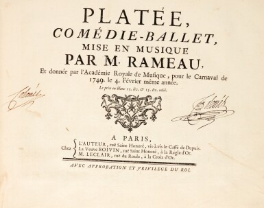 "J.-P. Rameau. Two first editions of opera-ballets in one volume: ""Pigmalion"" and ""Platée"", c.1749"