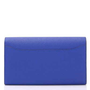 Hermès Bleu Electric Constance Long Wallet of Epsom Leather with Gold Hardware