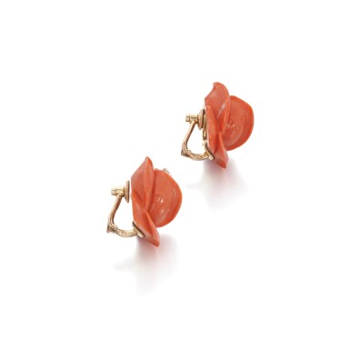 View 2. Thumbnail of Lot 70. Pair of coral and diamond ear clips, 1960s.