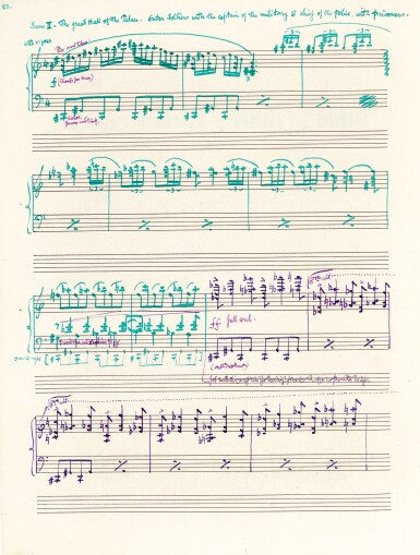 """View 1. Thumbnail of Lot 42. F. Delius. Manuscript by Philip Heseltine (""""Peter Warlock"""") of the vocal score of Delius's """"Hassan"""", 1921."""