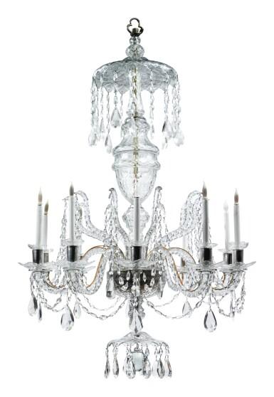 A GEORGE III STYLE CUT GLASS TEN-LIGHT CHANDELIER