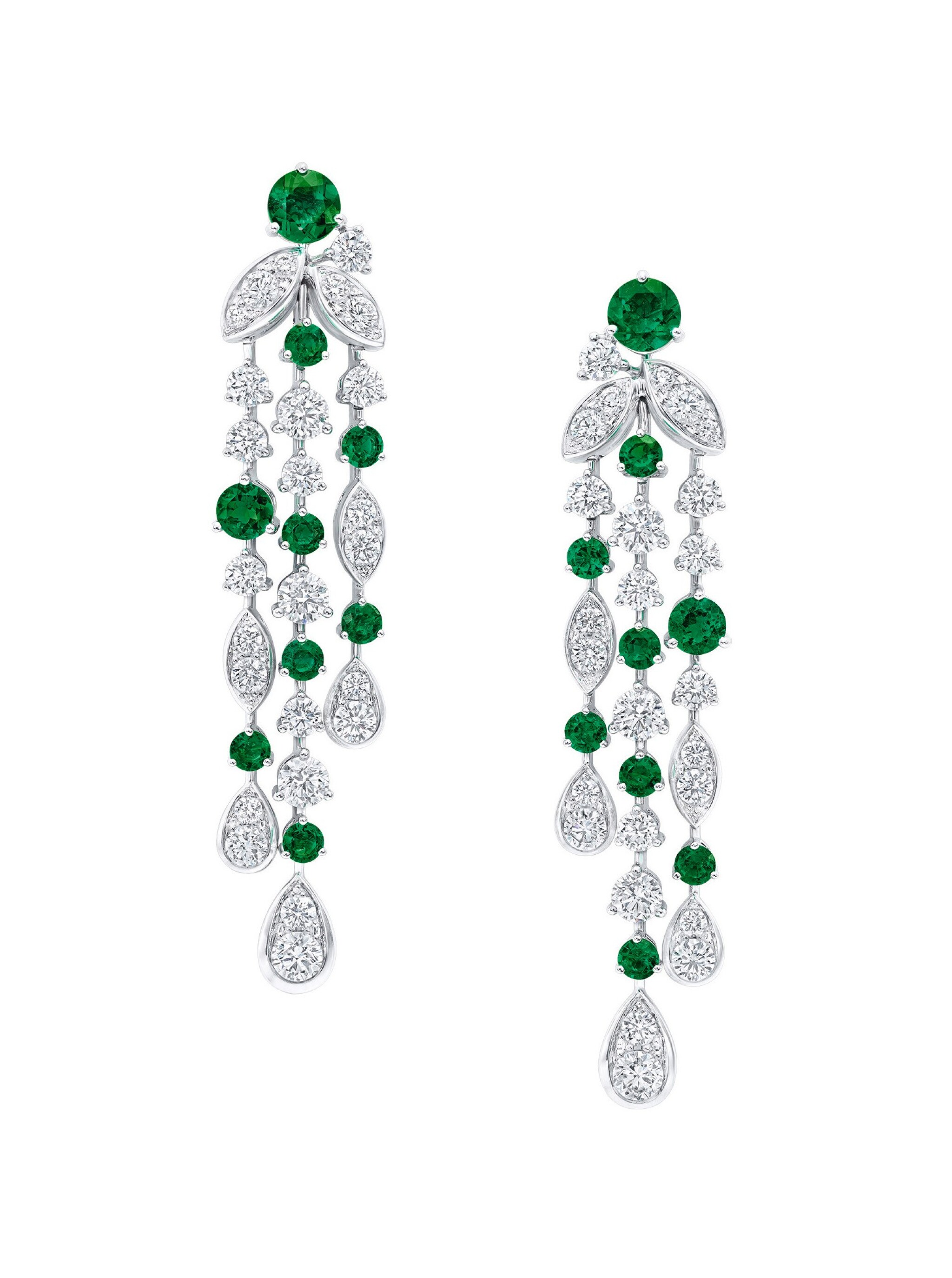 View full screen - View 1 of Lot 95. GRAFF   PAIR OF EMERALD AND DIAMOND 'RHYTHM' EARRINGS.