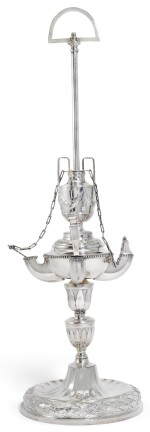 A MALTESE SILVER OIL LAMP (LAMPIER), GIOACCHINO LEBRUN, DE ROHAN PERIOD, CIRCA 1775