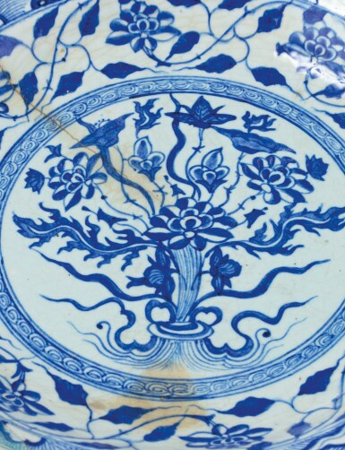 View 3. Thumbnail of Lot 180. A Large Blue and White Pottery Dish, Persia, circa 1600.