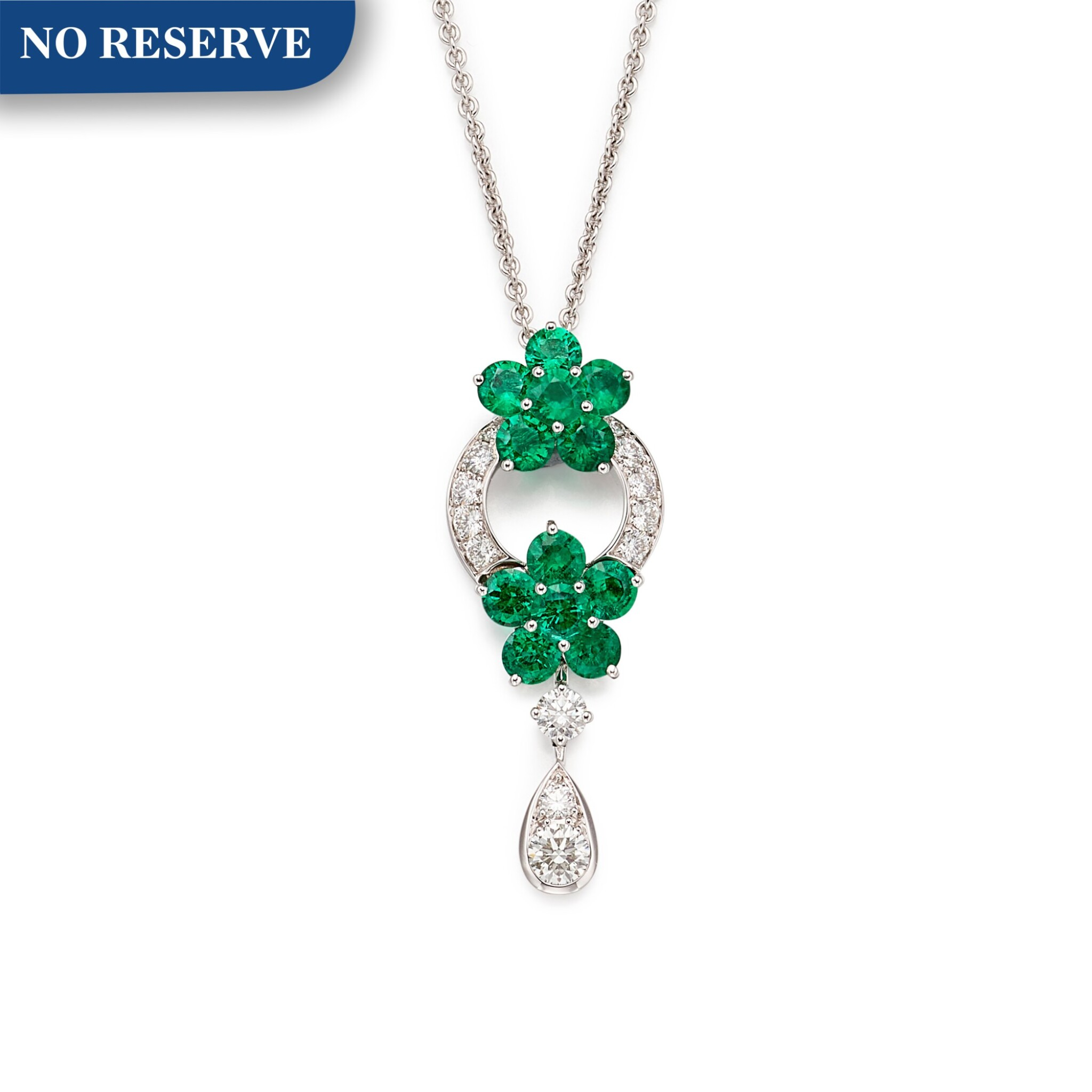 View full screen - View 1 of Lot 1654. GRAFF | 'ROSETTE' EMERALD AND DIAMOND PENDENT NECKLACE | 格拉夫| 'Rosette' 祖母綠  配 鑽石 項鏈.