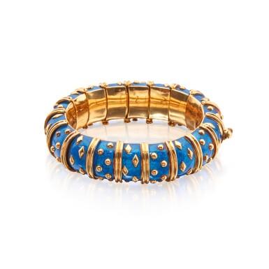 View 2. Thumbnail of Lot 25. Gold and Enamel 'Dot Losange' Bangle-Bracelet, Paris.