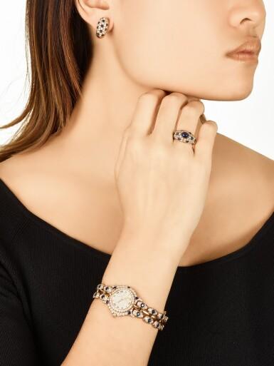 View 4. Thumbnail of Lot 1612. Diamond and Sapphire Demi-Parure and 'Pulchra' Wristwatch | 卡地亞及Bertolucci | 鑽石 配 藍寶石 戒指及耳環套裝 及'Pulchra' 腕錶.